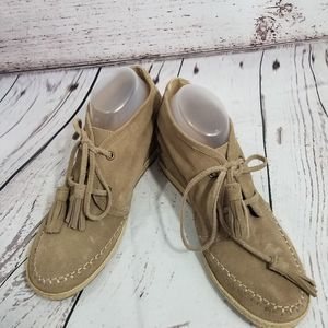 Crown vintage tan suede leather wedges lace up